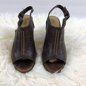 Frye Woven Peep-toe Sling back leather heels